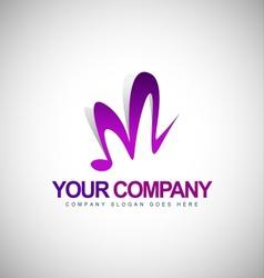 Music logo letter M vector image