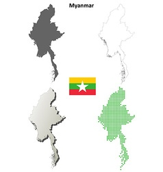Myanmar outline map set vector