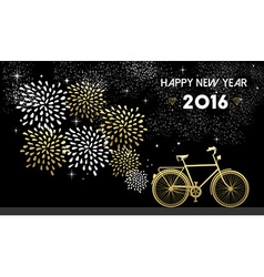 New Year 2016 bike gold firework night star vector image