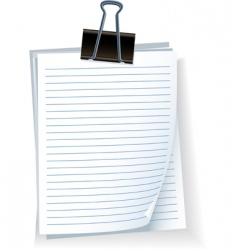 note paper with bulldog clip vector image