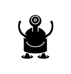 one-eyed monster black icon sign on vector image