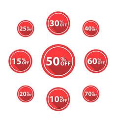 Percentage off sale labels red color vector