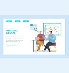 Personal mentor people in office learning skills vector