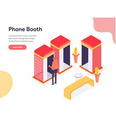 Phone booth concept isometric design concept vector