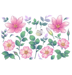 pink flowers buds and green leaves set vector image