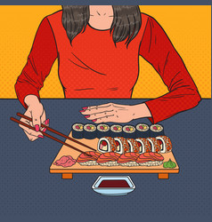 Pop art woman eating sushi at the asian restaurant vector