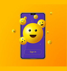 Realistic detailed 3d sign in app yellow emoji vector