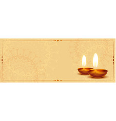 Realistic diwali diya banner with text space vector