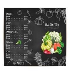 Restaurant menu with vegetables on chalkboard vector
