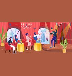 Restaurant with entertainment program or cabaret vector