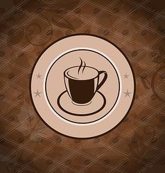 Retro background with coffee mug coffee bean vector image