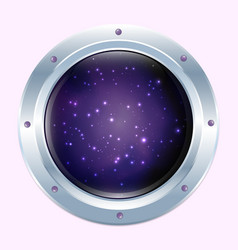 Round spaceship window with stars and dark cosmos vector