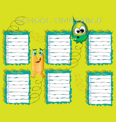 school timetable with funny aliens vector image