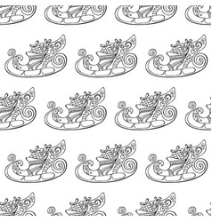 seamless festive pattern with christmas sleigh vector image