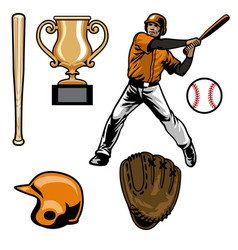 Set baseball equipment vector