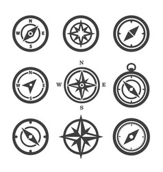 set compass icons vector image