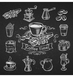 Set of hand drawn decorative coffee icons vector image
