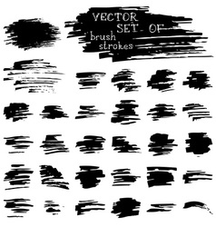 set of ink brush strokes vector image