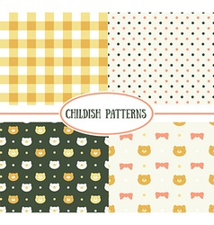 Set of retro childish seamless patterns vector