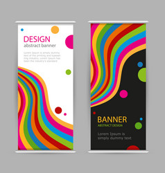 set roll up with bright rainbow line on black and vector image