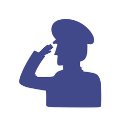 Silhouette soldier salute vector