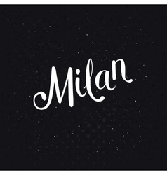Simple Milan Text on a Dotted Black Background vector