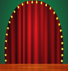 Stage with red curtain lights and wooden floor vector