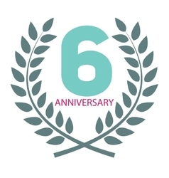 Template logo 6 anniversary in laurel wreath vector
