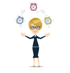 time management concept with woman character vector image