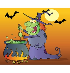 Ugly Witch Preparing A Potion In Halloween Night vector image