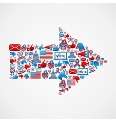 US elections icons in arrow shape vector image