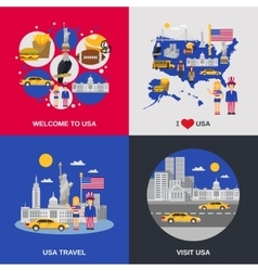 USA Culture 4 Flat Icons Square vector