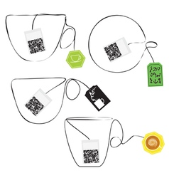Various teabags stylized as a cup of tee vector image