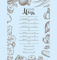 Vegan restaurant menu identity typographic layout vector