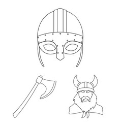 vikings and attributes outline icons in set vector image