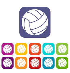 volleyball ball icons set flat vector image
