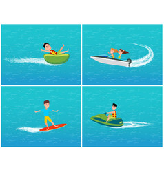 water transport and fun for teenagers set vector image