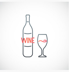 Wine emblem simple outline template with wine vector