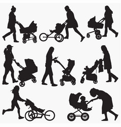 woman-with-stroller silhouettes vector image