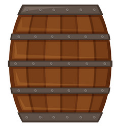 Wooden barrel on white background vector