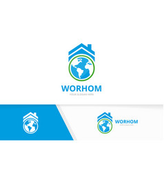 world and real estate logo combination vector image
