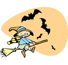 Young Witch with Bats vector