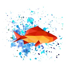 abstract origami fish on watercolor background vector image vector image