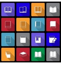 Book Icon set wiht Long Shadow vector image vector image