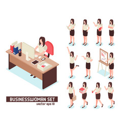 businesswomen isometric set vector image