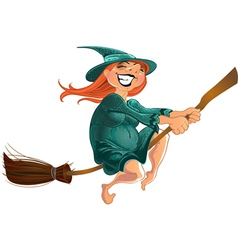 cheerful witch on the broom vector image vector image