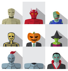Set of people with halloween costume in flat icons vector