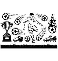 set of soccer elements and players vector image