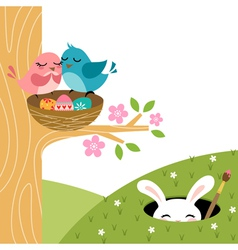 Easter couple of birds vector image vector image