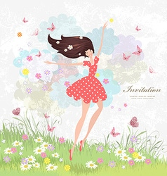 Happy girl on the floral meadow with pink vector image